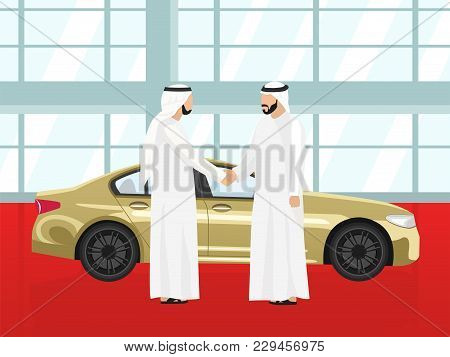 Purchase Selling A Gold Car In The Auto Showroom Of An Arab Men