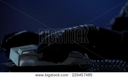 Unidentified Man Puts Handset After Calling To Blackmail Victim, Demands Money, Stock Footage