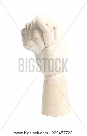 Wooden Robot Hand Isolated On A White Background