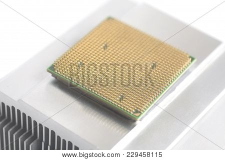 Central Processing Unit Cpu Microchip On Metal Cooler Isolated