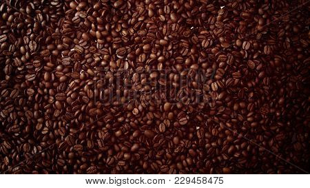 Top View Of Coffe Beans Background Full Of Cofe Beans Studio Shoot