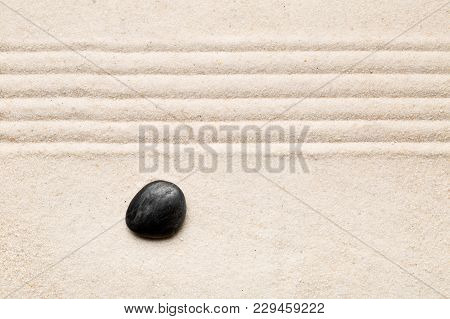 Zen Sand And Stone Garden With Raked Lines. Simplicity, Concentration Or Calmness Abstract Concept.