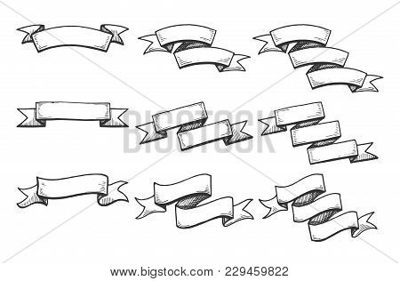 Vector Illustration Of A Ribbons Set Of A Different Style: Straight Banner, Rounded, Flowy Ribbon. O