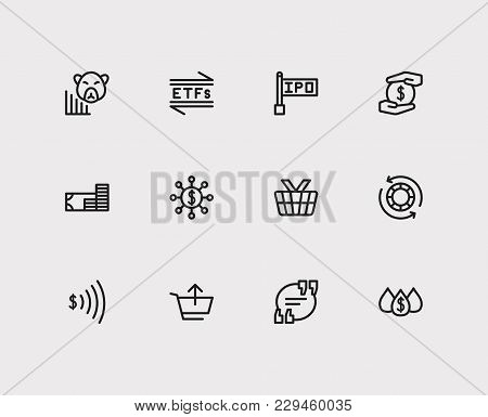 Financial Icons Set. Etfs And Financial Icons With Hedge Funds, Blue Chip Stocks And Quote. Set Of E