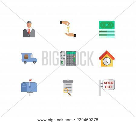 Property Icons Set. Deal And Property Icons With Agent, Price Calculation And Sold Out. Set Of Eleme