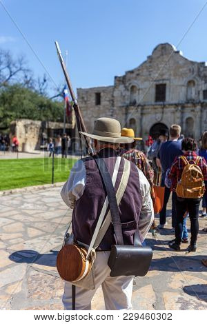 Man Dressed Up As Soldier For The Anniversary Of The Battle Of The Alamo