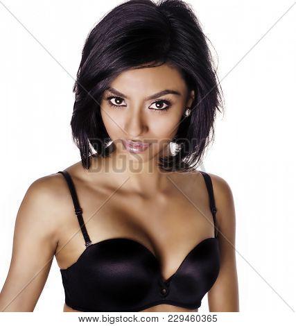 Beautiful woman wearing black bra