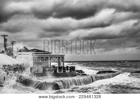 Grand Cayman, Cayman Islands, Dec 2017, Storm Over The Caribbean Sea By The South Terminal Of George