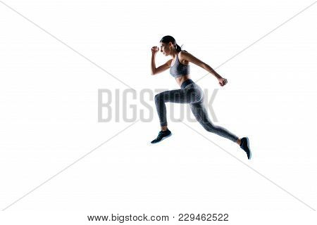 Ready Steady Go! Concept Of Endurance Strength Persistence In Sport. Full Length Full Size Portrait
