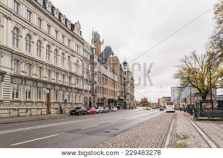 Malmo, Sweden - 22 October 2016: Cityscape In The Center Of Malmo, Sweden.