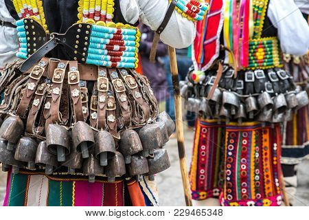 Kukeri, Mummers Perform Rituals With Costumes And Big Bells, Intended To Scare Away Evil Spirits Dur