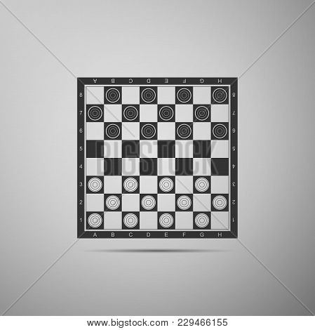 Board Game Of Checkers Icon Isolated On Grey Background. Ancient Intellectual Board Game. Chess Boar