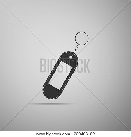 Key Chain Icon Isolated On Grey Background. Blank Rectangular Keychain With Ring And Chain For Key.
