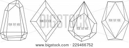 Set Of Geometrical Polyhedron, Frame Border With Copy Space. Modern Abstract Vector Backgrounds In A