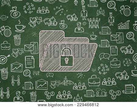 Business Concept: Chalk Pink Folder With Lock Icon On School Board Background With  Hand Drawn Busin