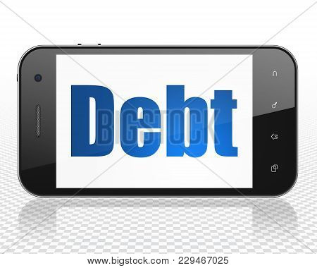 Business Concept: Smartphone With Blue Text Debt On Display, 3d Rendering