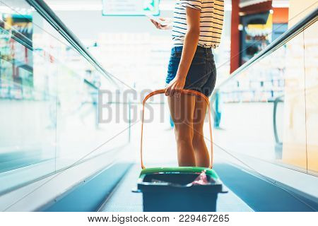 Young Woman Shopping Purchase Healthy Food In Supermarket Blur Background. Close Up View Girl Buy Pr
