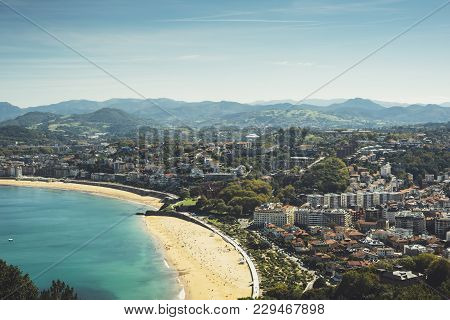 Observation Deck In Trip Holiday In San Sebastian Northern Spain Basque Country, Top View On Seascap