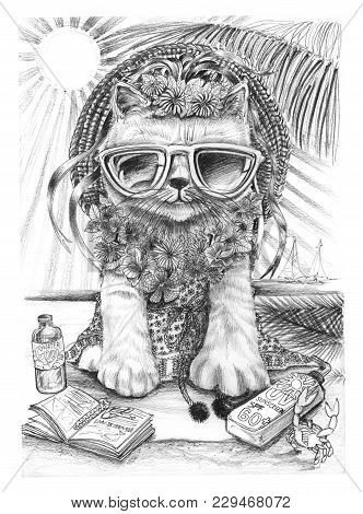 Cat Pretty Girl Ware Sunglasses, Handicraft Hat And India Dress Style On The Beach, Her Summer Holid