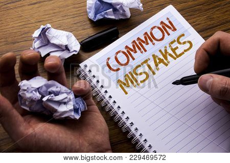 Word, Writing Common Mistakes. Concept For Common Concept Written On Notebook Notepad Note Paper On