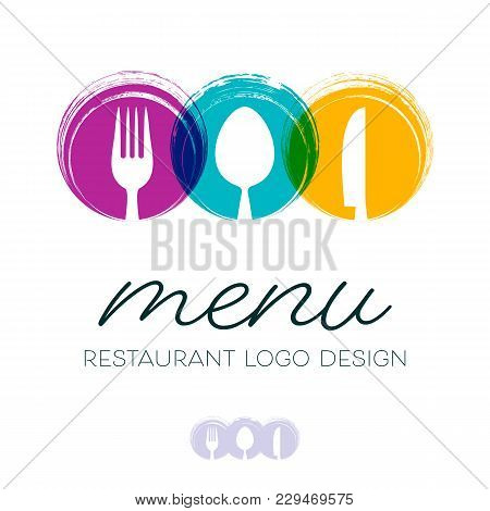 Abstract Restaurant Menu Design With Cutlery Signs Logo