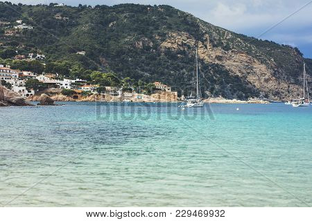 Observation Deck In Trip Holiday In Spain, View On Seascape On Mountain And Island In Ocean On Backg