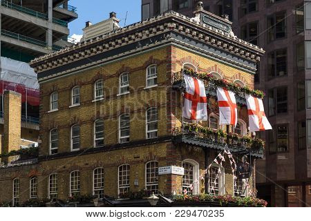 London, England - June 15 2016: Old Building Near Victoria Palace Theatre In City Of London, England