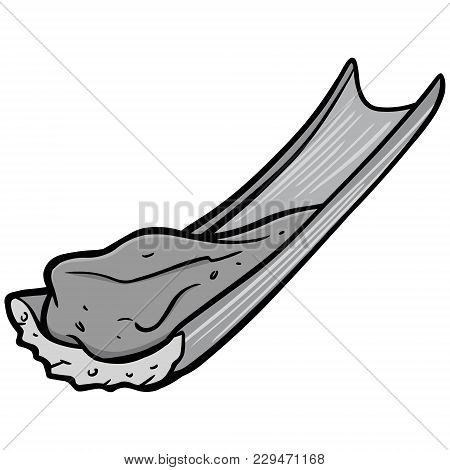 Peanut Butter And Celery Illustration - A Vector Cartoon Illustration Of A Stick Of Celery With Pean
