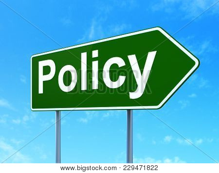 Insurance Concept: Policy On Green Road Highway Sign, Clear Blue Sky Background, 3d Rendering