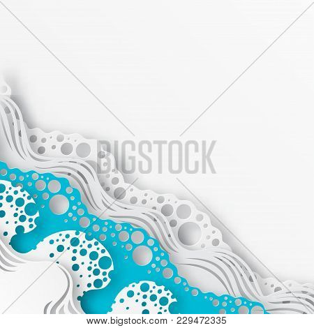 Abstract Paper Art Sea Or Ocean Water Waves. Summer White And Blue Elegant Background. Paper Sea Wav