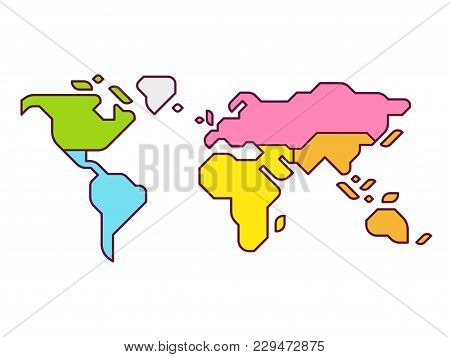 Simplified world map vector photo free trial bigstock simplified world map infographic with continents in different color modern flat vector style illust gumiabroncs
