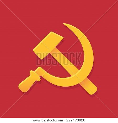 Soviet Hammer And Sickle Symbol On Red Background. Communist Ussr Flag. Simple Stylized Cartoony Sty
