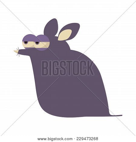 Illustration Of A Crafty Purple Suspicious Funny Cartoon Mouse Isolated On White Background.