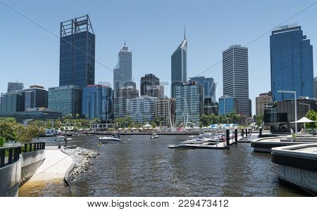 Perth, Australia - January 21, 2018: Skyline Of Downtown Perth On January 21, 2018 In Western Austra