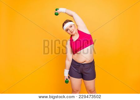 I'm Sportive Girl! Cheerful Cute Smiling Happy Plump Woman Athlete Wearing Shorts And Top Is Inclini