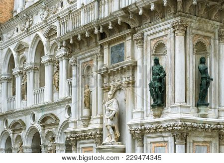 Doge`s Palace Or Palazzo Ducale, Venice, Italy. Doge`s Palace Is One Of The Main Tourist Destination
