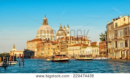 Venice In The Sunlight, Italy. Scenic Panoramic View Of The Grand Canal At Sunset. Beautifiul Panora