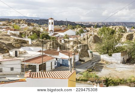 View Over The Suburb Of Guadix City And Troglodyte Cave Dwellings, Province Of Granada, Spain