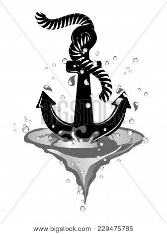 Black Anchor In Wave Isolated On White Background