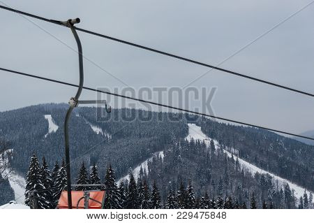 Beautiful View Of The Mountains And Hoarfrost Forest With Chairlifts And Ski Slopes In Bukovel, Ukra