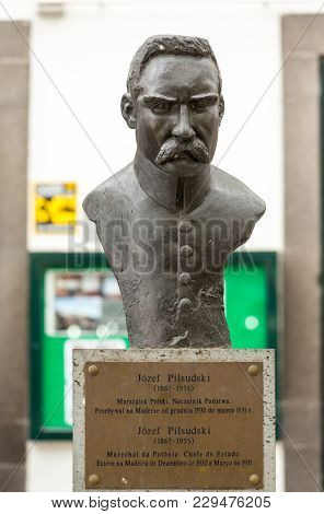 Funchal, Madeira, Portugal - September 3, 2016:  Statue Of Marshal Jozef Pilsudski In Funchal On Mad
