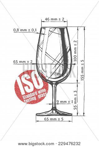 Vector Technical Drawn Of Iso Standard Wine Tasting Glass With Dimensions. Illustration Of Wineglass