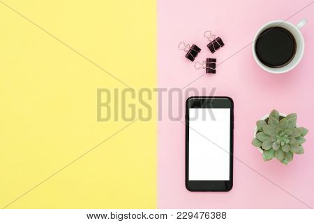 Office Desk Working Space - Flat Lay Top View Of A Working Space With Coffee Cup, Cactus Tree And Bl