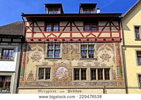 Stein Am Rhein, Switzerland - May 05, 2013: Old Beautiful Fresco On Medieval Building In Stein Am Rh