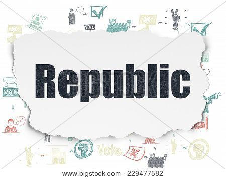 Political Concept: Painted Black Text Republic On Torn Paper Background With Scheme Of Hand Drawn Po