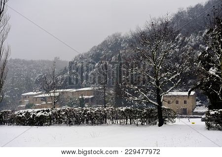 Snowy Landscape In The French Cevennes Region
