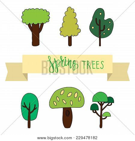 Set Of Spring Trees With Autumn Trees Lettering. Vector Illustration