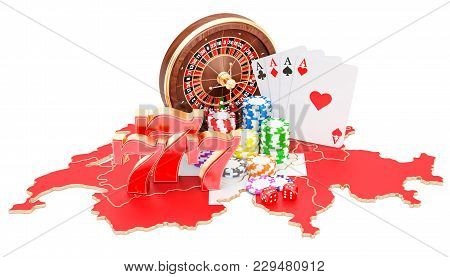 Casino And Gambling Industry In Switzerland Concept, 3d Rendering Isolated On White Background