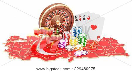 Casino And Gambling Industry In Turkey Concept, 3d Rendering Isolated On White Background