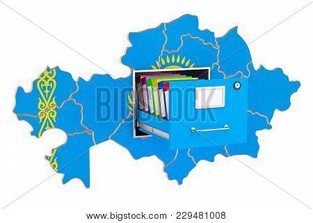 Kazakh National Database Concept, 3d Rendering Isolated On White Background